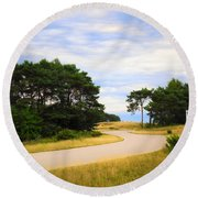 Winding Road Into The Unknown Round Beach Towel
