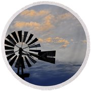Windmill And Cloud Bank At Sunset Round Beach Towel
