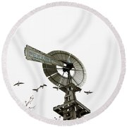 Windmill And Geese Round Beach Towel
