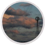 Windmill And Tank At Dusk Round Beach Towel