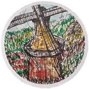 Windmill And Tulips  Round Beach Towel