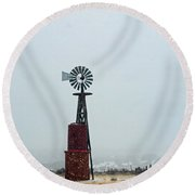 Windmill And Water Tanks Round Beach Towel