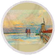 Windmill At A Channel In Rotterdam Round Beach Towel