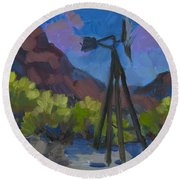 Windmill At Keys Ranch Joshua Tree Round Beach Towel
