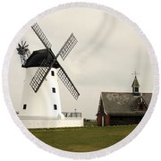 Windmill At Lytham St. Annes - England Round Beach Towel