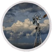 Windmill Energy On Old Prairie Farm Round Beach Towel