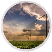 Windmill Farm Round Beach Towel