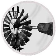 Windmill In Black And White Round Beach Towel