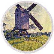 Windmill In Flanders Round Beach Towel