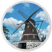 Windmill In Fleninge,sweden Round Beach Towel