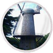 Windmill In Golden Gate Park Round Beach Towel