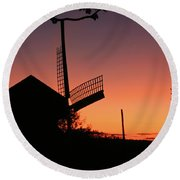 Windmill In The Afterglow. Round Beach Towel