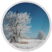 Windmill In The Frost Round Beach Towel
