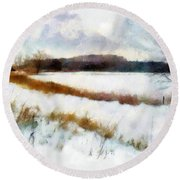 Windmill In The Snow Round Beach Towel by Valerie Anne Kelly