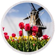 Windmill Island Tulip Gardens Round Beach Towel