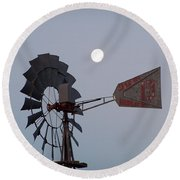 Windmill Moon Round Beach Towel