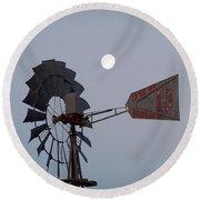 Windmill Moon Round Beach Towel