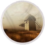 Windmill On A Slightly Misty Day Round Beach Towel