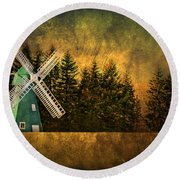 Windmill On My Mind Round Beach Towel