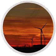 Windmill Sunrise Round Beach Towel