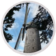 Windmill Through The Trees Round Beach Towel