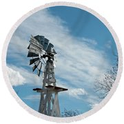 Windmill With White Wood Base Round Beach Towel