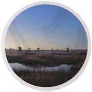 Windmills At Kinderdijk In Wintersun Round Beach Towel