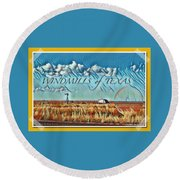 Windmills Of Texas Round Beach Towel