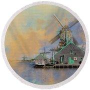 Windmills Of Zaanse Schans Round Beach Towel