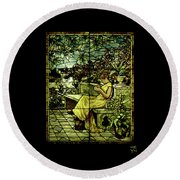 Window - Lady In Garden Round Beach Towel