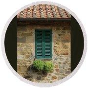 Window #3 - Cinque Terre Italy Round Beach Towel
