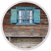 Window And Bench Round Beach Towel by Yair Karelic