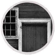 Window And Door Bw Round Beach Towel