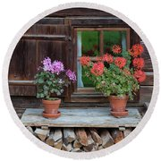 Window And Geraniums Round Beach Towel