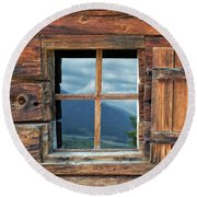 Window And Reflection Round Beach Towel