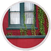 Window And Vines Round Beach Towel
