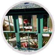 Window At Corcreggan's Mill Round Beach Towel