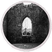 Window At Fuerty Church Roscommon Ireland Round Beach Towel