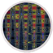 Window At Tempe Center For The Arts Abstract Round Beach Towel