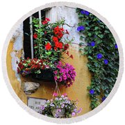 Window Garden In Arles France Round Beach Towel
