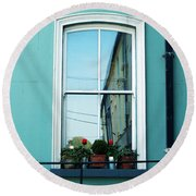 Window In Ennistymon Ireland Round Beach Towel