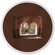 Window In La Alhambra Round Beach Towel