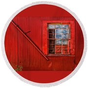 Window In Red Round Beach Towel