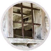 Window In The Amana Farmer's Market Barn Amana Ia Round Beach Towel
