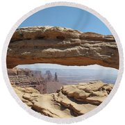 Window In The Sky Round Beach Towel