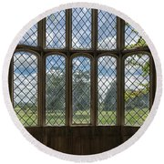 Lacock Abbey Wales Round Beach Towel