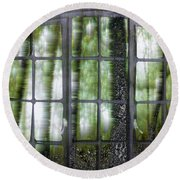 Window On The Woods Round Beach Towel