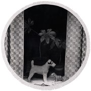 Window Scene Round Beach Towel