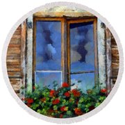 Window Shutters And Flowers IIi Round Beach Towel