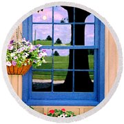 Window Round Beach Towel